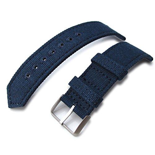 22 mm MiLTAT 2 Weltkrieg Marineblau Gewaschen Leinwand Armbanduhr Band Steppstich pin hole BL