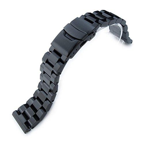 22 mm hexad Oyster 316L SS Armbanduhr Armband gerade Lug Diver Schliesse PVD schwarz