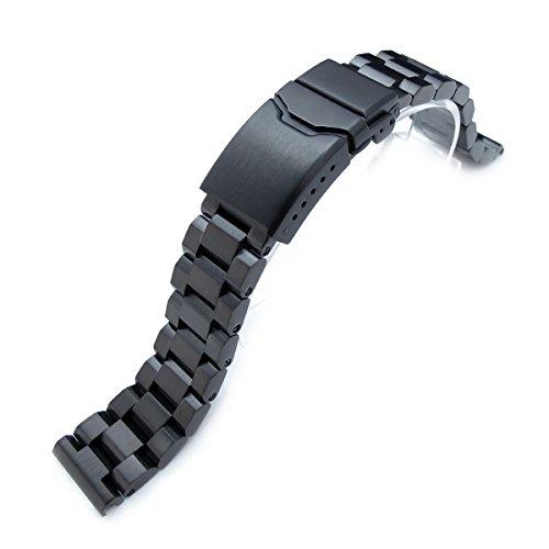 20 mm hexad Oyster 316L Edelstahl Uhr Band Button Entgratung Schliesse PVD schwarz