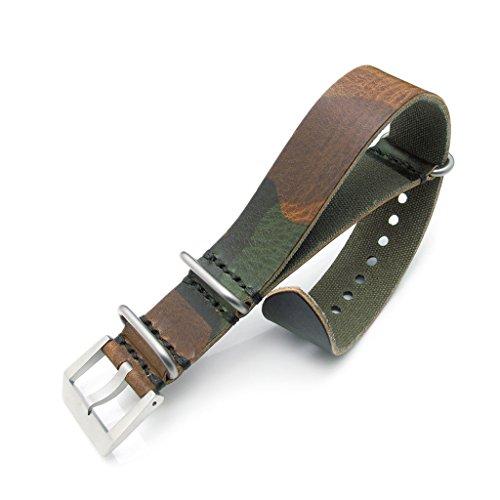 24 mm Woodland Camouflage Leder Zulu Uhrenarmband sandgestrahlt Schnalle MiLTAT Grezzo