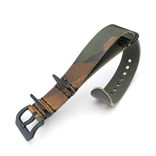 22 mm WOODLAND Camouflage Leder Zulu Uhrenarmband PVD schwarz Schnalle MiLTAT Grezzo SQ