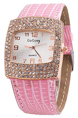 Armbanduhr GoGoey Frauen Quadratischer Strass Kunstleder Armbanduhr Rosa