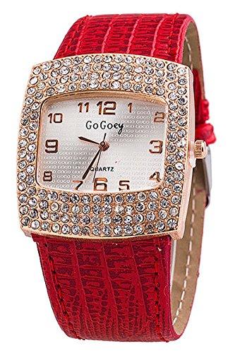 Armbanduhr GoGoey Frauen Quadratischer Strass Kunstleder Armbanduhr Rot