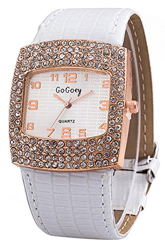 Armbanduhr GoGoey Frauen Quadratischer Strass Kunstleder Armbanduhr Weiss