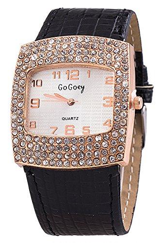 Armbanduhr GoGoey Frauen Quadratischer Strass Kunstleder Armbanduhr Schwarz
