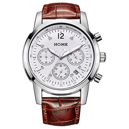 Herren Armbanduhr Chronograph Quarz mit Luminous Datum Kalender Analog Anzeige und braunem Lederband