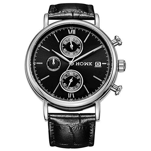 HOWK Herren Datum Chronograph Quarz Armbanduhr wasserabweisend schwarz Lederband schwarz Zifferblatt