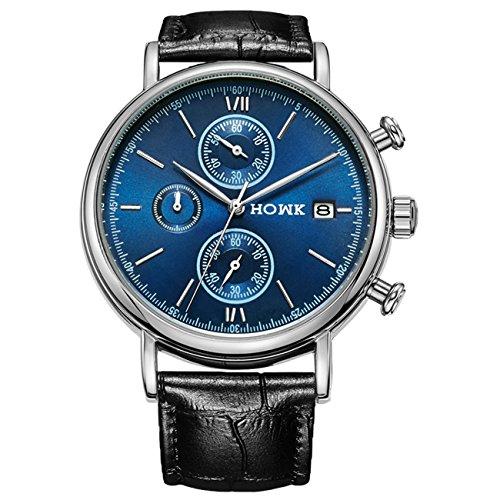 HOWK Quarz Uhren Datum Analog Display mit Silber Luenette Schwarz Lederband blau Zifferblatt
