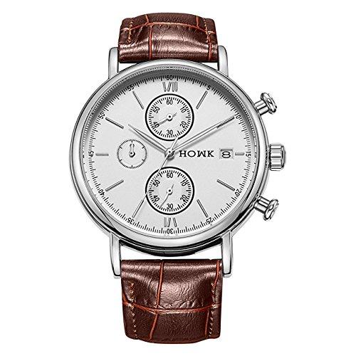 HOWK Uhren Datum Analog Display mit Braun Leder Band Weiss Zifferblatt