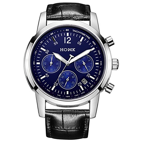 HOWK Business Casual Herren Datum Multifunktional Quarz Armbanduhr Blau Zifferblatt Schwarz Lederband