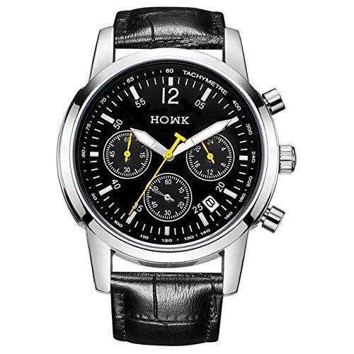 HOWK Herren Datum Wasserdicht Chronograph Quarz Kleid Armbanduhr Schwarz Zifferblatt mit Schwarz Leder Band