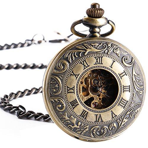ManChDa Retro Handaufzug mechanische Taschenuhr Skelett Uhr graviert Metall Roemische ZahlenDoppel Jaeger Bronze Geschenk Box