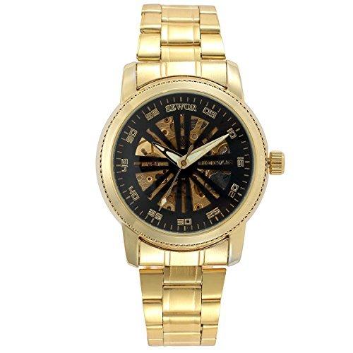 ManChDa Armbanduhr Herren Skelett Automatik Analog Uhrwerk Mechanisch Gold Stahl Band Uhr