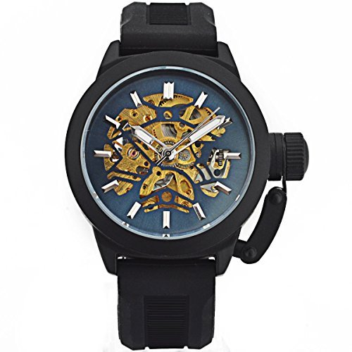 ManChDa Automatikuhr Mechanische Armbanduhr Skelett Automatik Mechanik Silikon Uhr