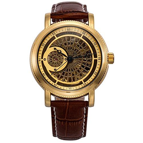 ManChDa Mens Luxus Golden Automatische Mechanische Armbanduhr Raster Skelett Waehlen Braun Leder Geschenk Box