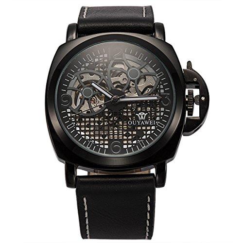 ManChDa Mens Automatische Mechanische Schwarzes Leder Uhr Perspektive Raster Zifferblatt Geschenk Box