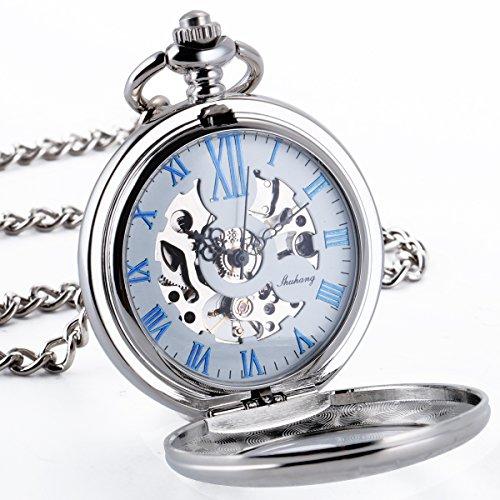 ManChDa Elegantes Silber Gravierte Halb Hunter Lupe Blau roemische Ziffern Hohle Mechanische Taschenuhr