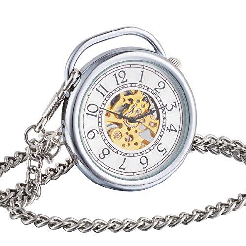 ManChDa Retro Handaufzug mechanische Taschenuhr Skelett Uhr Bewegung OEffnen Sie Gesicht
