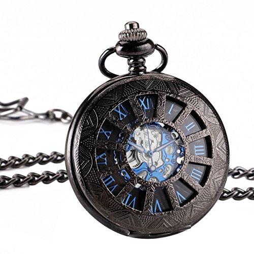 ManChDa Retro Handaufzug mechanische Taschenuhr Skelett Uhr graviert blau schwarz Metall Geschenk Box