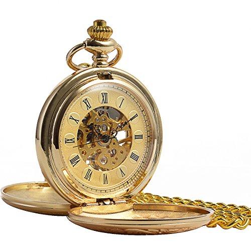 ManChDa Retro Handaufzug mechanische Taschenuhr Skelett Uhr graviert Metall Roemische ZahlenDoppel Jaeger