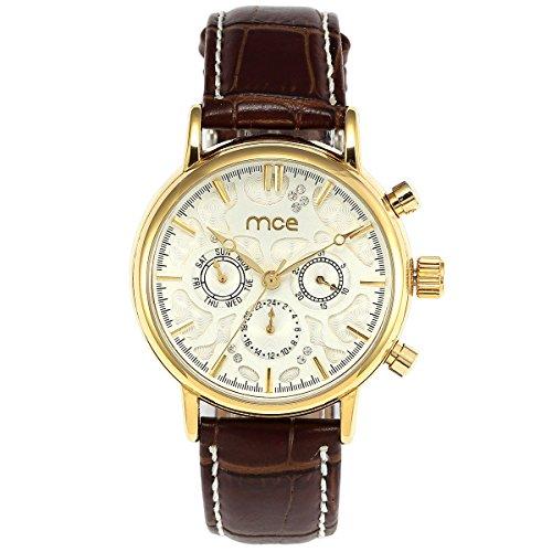 ManChDa Herren mechanische weisses Zifferblatt 6 Haende Datum 24 Stunden am Tag Brown Leder Armbanduhr Geschenkbox