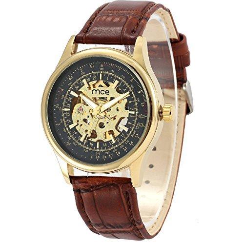 ManChDa Herrenuhr Automatikuhr Mechanische Automatik Uhr Herren Uhr braun Leder Armbanduhr