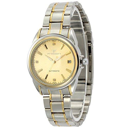 ManChDa Klassisch Gold Herren Armbanduhr Analog Datum Anzeige Automatisch Auto Mechanische Uhr