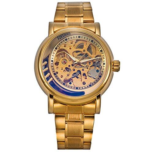 ManChDa Mens Fashion Golden Skelett Mechanische Automatische Armbanduhr mit Gold Edelstahl Geschenk Box