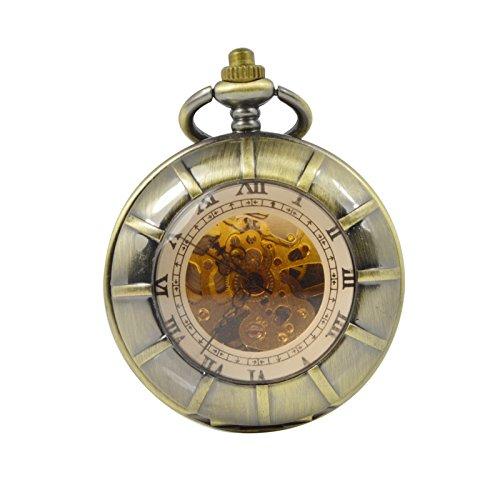 ManChDa Maenner Steampunk Taschenuhr Bronze Graviert Doppelte Hunter Skeleton Zifferblatt mit Kette Geschenk Box