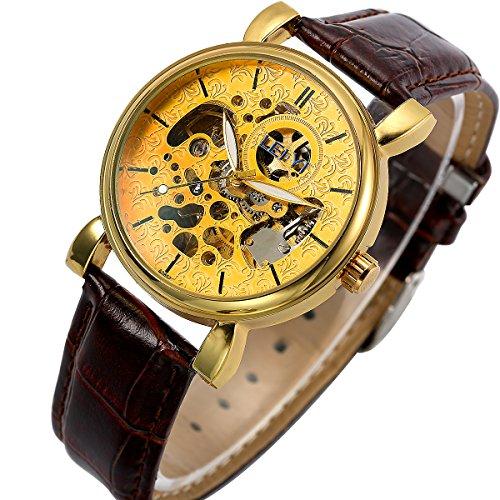 ManChDa Klassische goldenes Zifferblatt mechanische Armbanduhr fuer Maenner Automatikwerk mit braunem Leder Geschenk Box