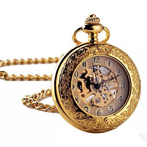 ManChDa Maenner Retro mechanische Taschenuhr Golden Graviert Fall Lupe Hunter Arabische Ziffern mit Kette Geschenk Box