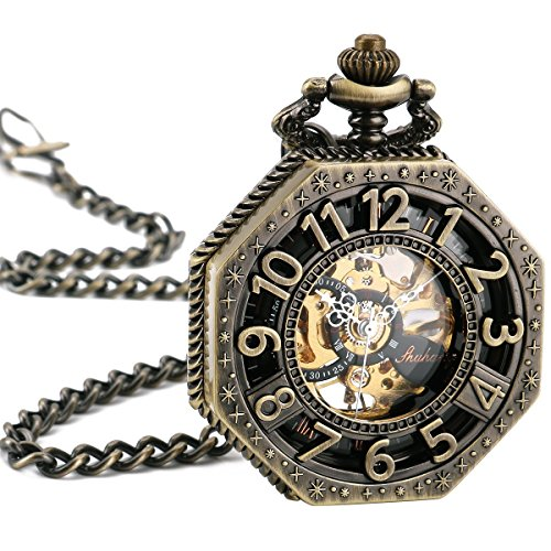 ManChDa Taschenuhr Herren Achteck mechanisch Uhr NEU Meschische Uhr Taschenuhr Bronzefarbe Geschenk Box