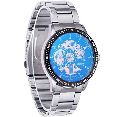 M nner schwarze Vorwahlknopf automatische mechanische Skeleton Edelstahl Armbanduhr Geschenkkarton
