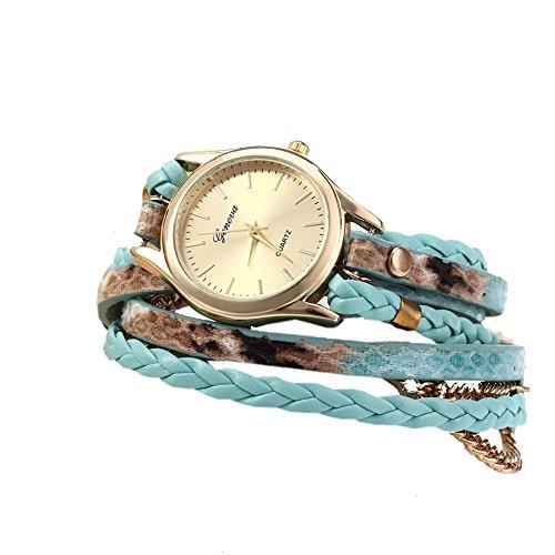Leopard Damen Quarzuhr Shop Woven Armband Schlange Textur Leder Kette Gruen