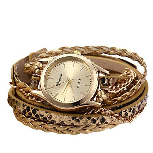 Leopard Damen Quarzuhr Shop Woven Armband Schlange Textur Leder Kette Golden