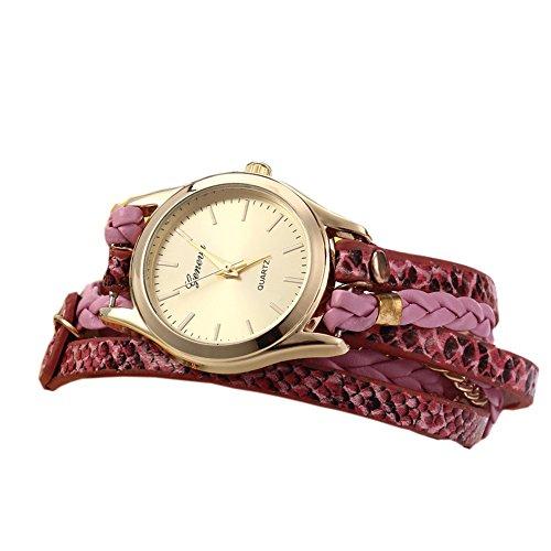 Leopard Damen Quarzuhr Shop Woven Armband Schlange Textur Leder Kette pink