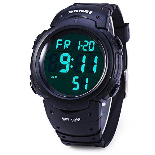 Leopard Shop SKMEI 1068 LED Digital Militaer LED Uhr Wasser bestaendig Stoppuhr Schwarz