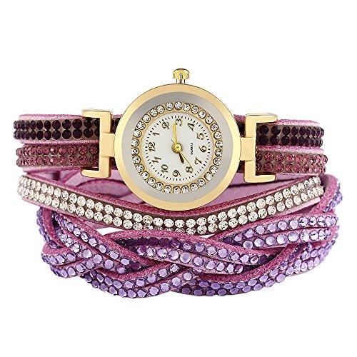 Leopard Shop Damen Armband Leder Band Strass verziert violett