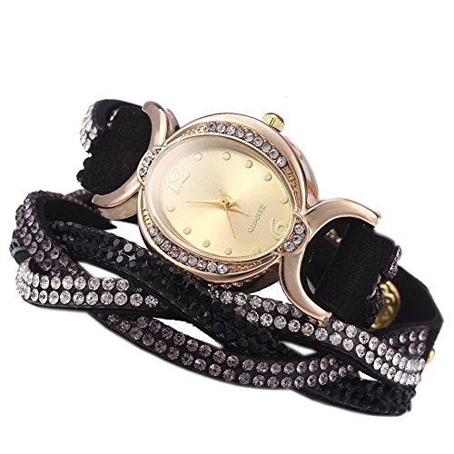 Leopard Shop Frauen Armband Strass Kette Schwarz
