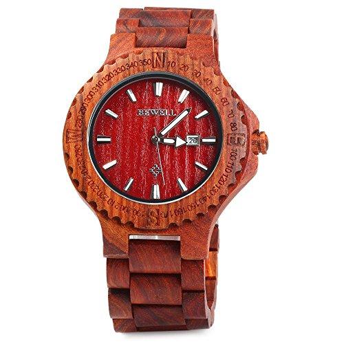 Leopard Shop Bewell Herren Armreif aus Holz mit Datum Display rot