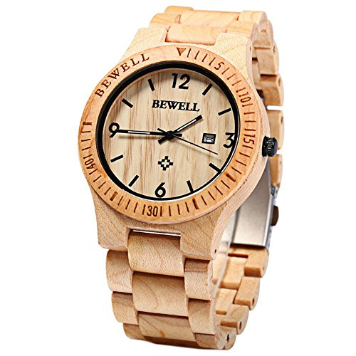 Leopard Shop Bewell Analog Quarz Bewegung Datum Display Holz Ahorn Holz
