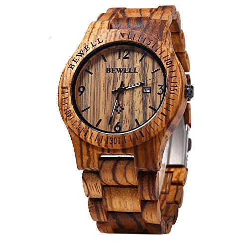 Leopard Shop Bewell Analog Quarz Bewegung Datum Display Holz zerawood