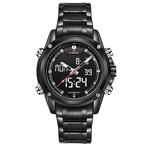 Leopard Shop Dual Movt Herren Farben Analog Digital LED Armbanduhr Schwarz Silber