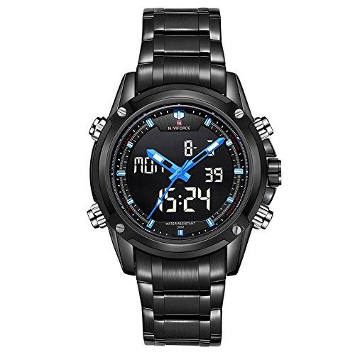 Leopard Shop Dual Movt Herren Farben Analog Digital LED Armbanduhr Schwarz Blau