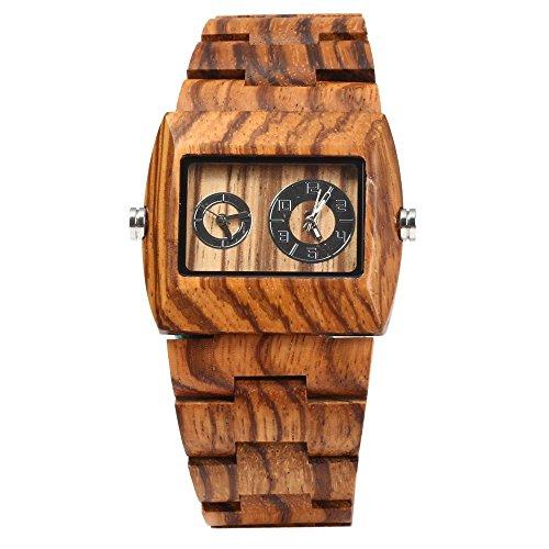 Leopard Shop Bewell Herren doppelte Bewegung Holz Zebrano