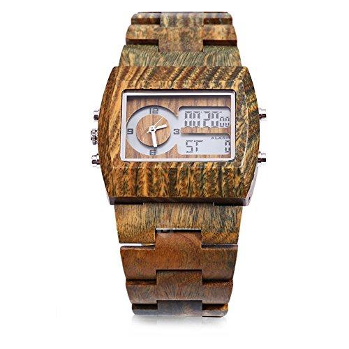 Leopard Shop Bewell Herren Bambus Holz mit doppelter Bewegung Luminous Display Kompass