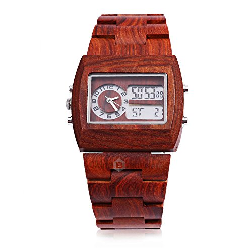 Leopard Shop Bewell Herren Bambus Holz mit doppelter Bewegung Luminous Display rot Sandelholz