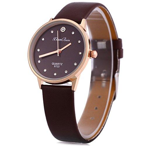 Leopard Shop Fashion Frauen Armbanduhr eingebauten Kuenstliche Diamant Kaffee