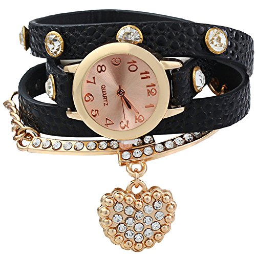 Leopard Shop Vintage Frauen Armbanduhr Leopard Leder Armband Handgelenk gewickelt mit Herz Strass Anhaenger schwarz