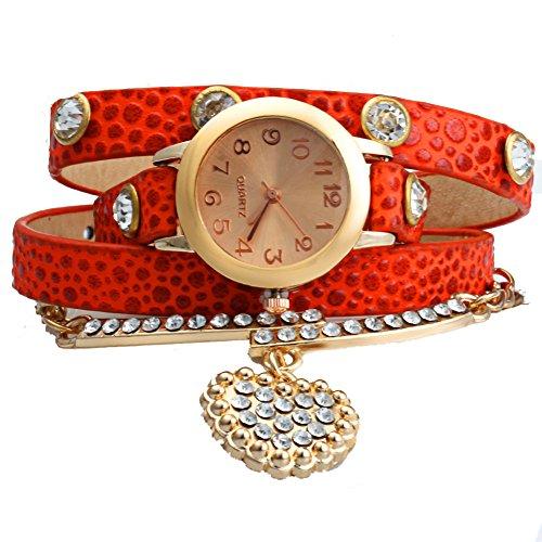 Leopard Shop Vintage Frauen Armbanduhr Leopard Leder Armband Handgelenk gewickelt mit Herz Anhaenger Strass Orange Rot